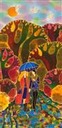 Fantasy art,Landscape art,People art,Representational art,mixed media artwork,Cozy Fall Alley