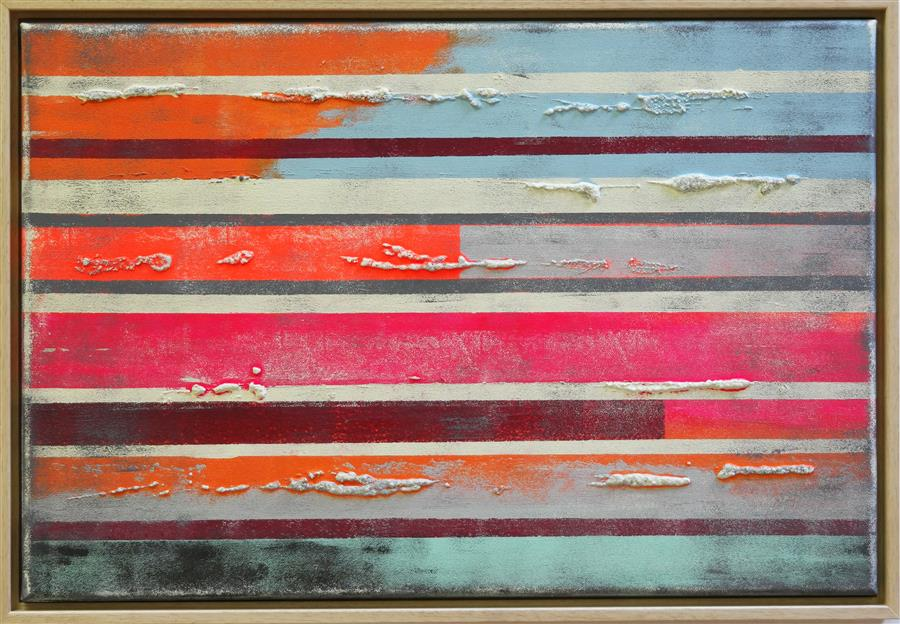 Discover Original Art by Ronald Hunter | S-Popart Neon Striped Colors acrylic painting | Art for Sale Online at UGallery