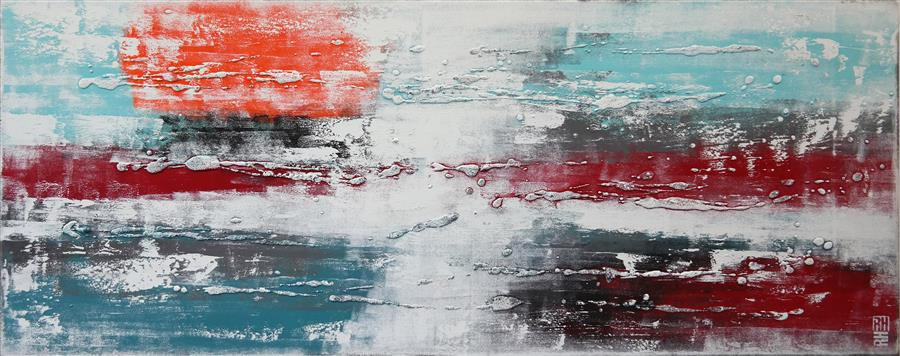 Original art for sale at UGallery.com | White on White City Lights by RONALD HUNTER | $1,425 | Acrylic painting | 23' h x 59' w | http://www.ugallery.com/acrylic-painting-white-on-white-city-lights