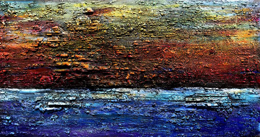 Original art for sale at UGallery.com | Restless Earth by MILEN TOD | $2,400 | Mixed media artwork | 30' h x 60' w | http://www.ugallery.com/mixed-media-artwork-restless-earth
