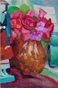 Still Life art,Flora art,Representational art,oil painting,Flowers and Figurine