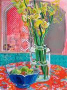 Impressionism art,Still Life art,Flora art,Representational art,mixed media artwork,Gladiolus and Pokeweed