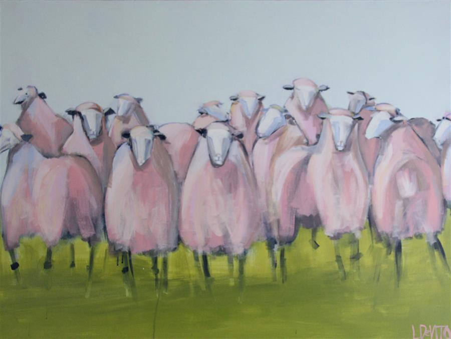 Original art for sale at UGallery.com | Pink Sheep by LESLI DEVITO | $2,125 | Acrylic painting | 30' h x 40' w | http://www.ugallery.com/acrylic-painting-pink-sheep