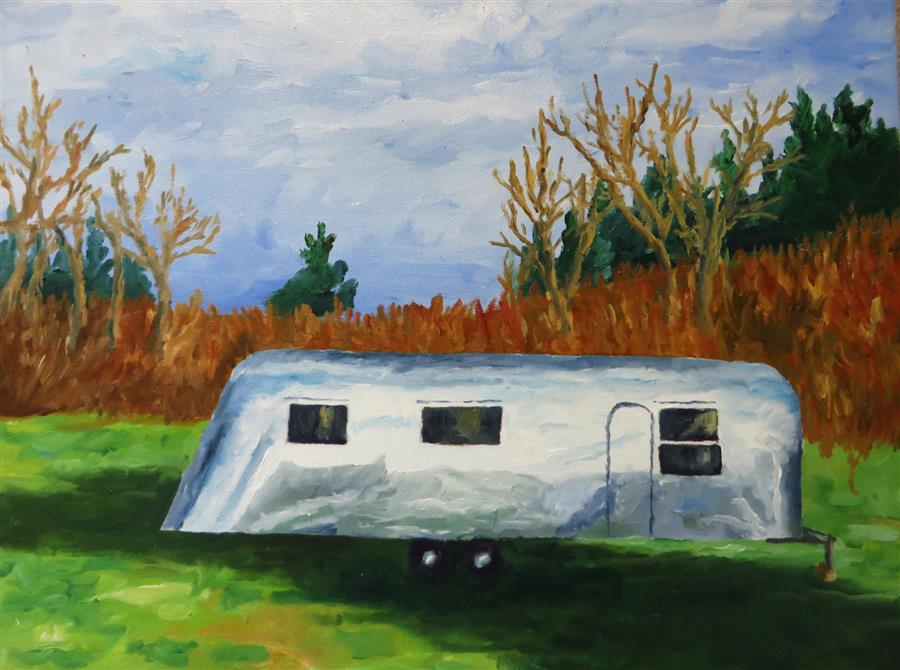 Original art for sale at UGallery.com | Airstream 1 by MITCHELL FREIFELD | $400 | Oil painting | 15' h x 20' w | http://www.ugallery.com/oil-painting-airstream-1