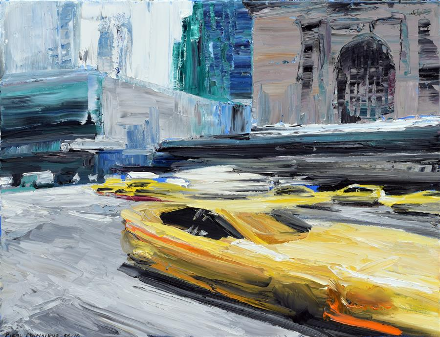 Original art for sale at UGallery.com | Taxi Ride by PIERO MANRIQUE | $725 | Oil painting | 16' h x 20' w | http://www.ugallery.com/oil-painting-taxi-ride-45273