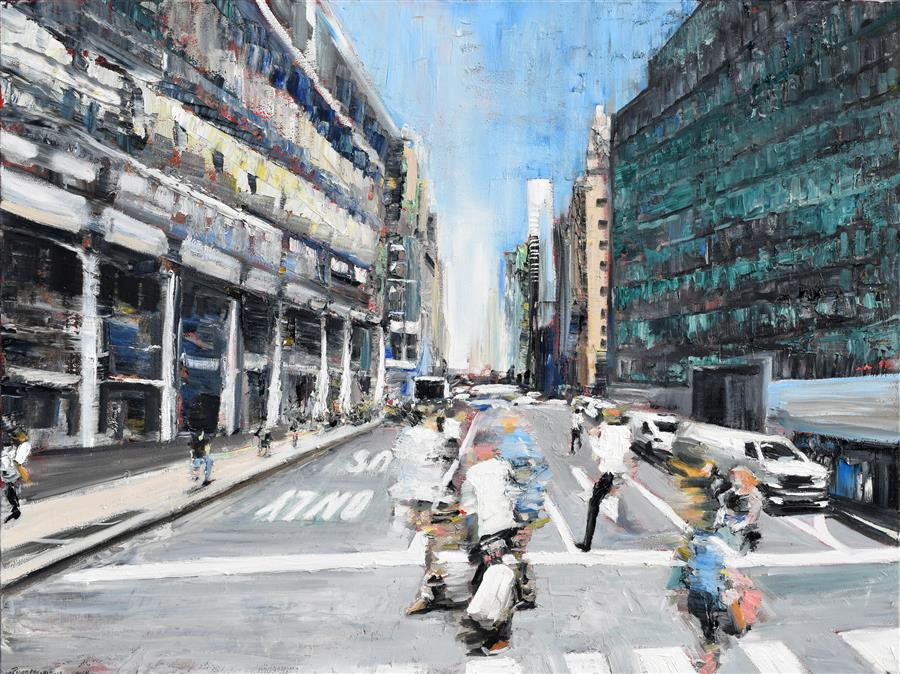 Original art for sale at UGallery.com | Street Motion by PIERO MANRIQUE | $1,975 | Oil painting | 30' h x 40' w | http://www.ugallery.com/oil-painting-street-motion