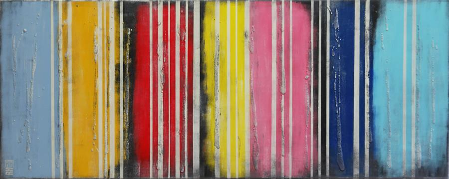 Original art for sale at UGallery.com | Striped Colors on Colors by RONALD HUNTER | $1,475 | Acrylic painting | 23.6' h x 59.1' w | http://www.ugallery.com/acrylic-painting-striped-colors-on-colors