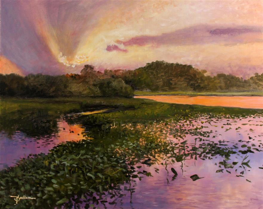 Discover Original Art by Kent Sullivan | Sunset on the Lake oil painting | Art for Sale Online at UGallery