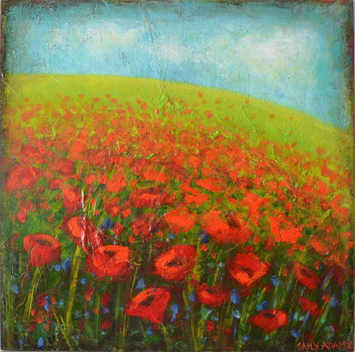 Original art for sale at UGallery.com | Monet's Poppies by SALLY ADAMS | $600 | Acrylic painting | 20' h x 20' w | http://www.ugallery.com/acrylic-painting-monet-s-poppies