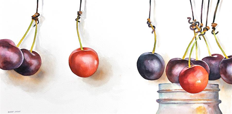 Original art for sale at UGallery.com | Cherry Jam by DWIGHT SMITH | $275 | Watercolor painting | 9' h x 18' w | http://www.ugallery.com/watercolor-painting-cherry-jam