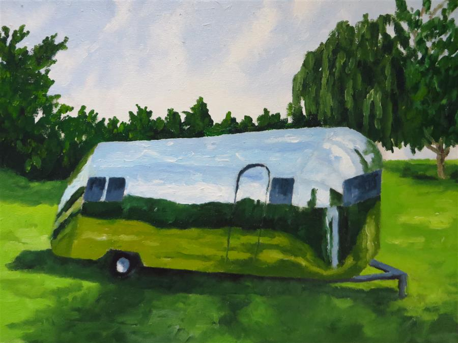 Original art for sale at UGallery.com | Airstream 3 by MITCHELL FREIFELD | $375 | Oil painting | 15' h x 20' w | http://www.ugallery.com/oil-painting-airstream-3