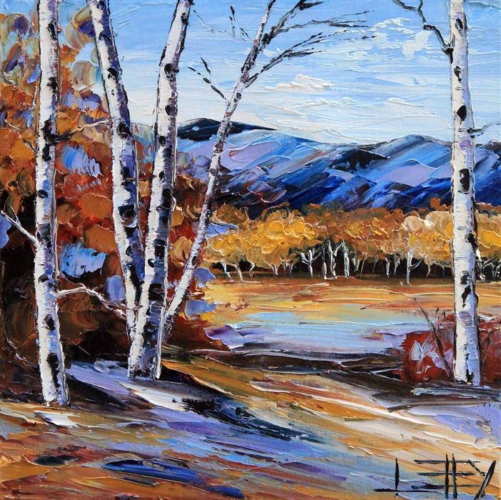 Discover Original Art by Lisa Elley | Study in Birch oil painting | Art for Sale Online at UGallery