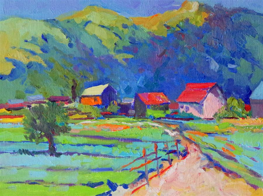 Discover Original Art by Suren Nersisyan | Farms oil painting | Art for Sale Online at UGallery