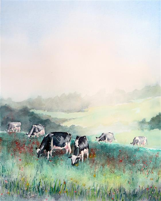 Original art for sale at UGallery.com | Misty Morning, Cows at Breakfast by NANCY MUREN | $675 | Watercolor painting | 22' h x 18' w | http://www.ugallery.com/watercolor-painting-misty-morning-cows-at-breakfast