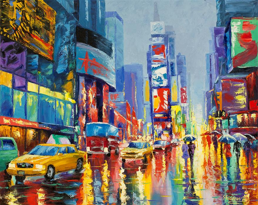 Original art for sale at UGallery.com | Wet Weather. New York. by STANISLAV SIDOROV | $1,300 | Oil painting | 24' h x 30' w | http://www.ugallery.com/oil-painting-wet-weather-new-york