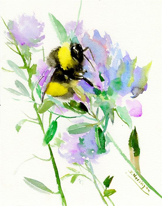 Discover Original Art by Suren Nersisyan | Bumblebee and Soft Violet Flowers watercolor painting | Art for Sale Online at UGallery
