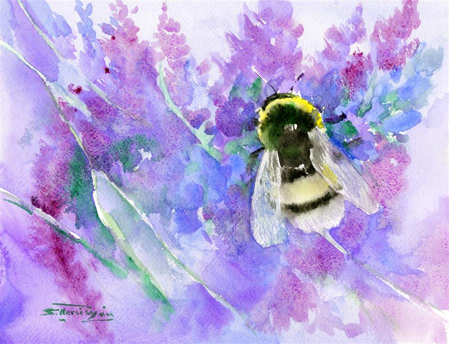 Discover Original Art by Suren Nersisyan | Bumblebee and Lavender Flowers watercolor painting | Art for Sale Online at UGallery