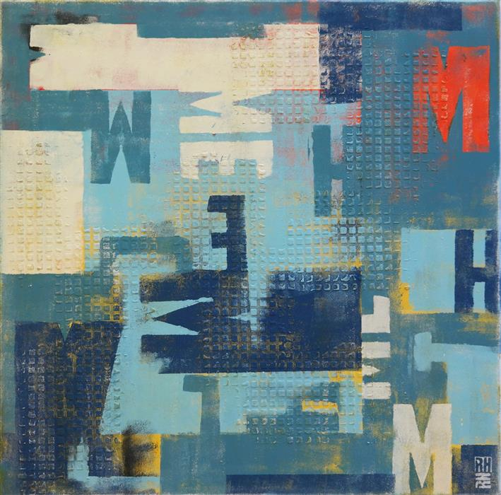 Discover Original Art by Ronald Hunter | Square Typo Graphic acrylic painting | Art for Sale Online at UGallery