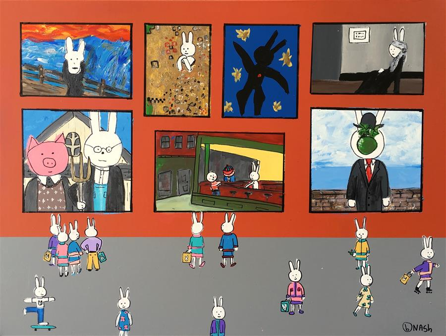 Original art for sale at UGallery.com | LaLa's Favorite Museum by BRIAN NASH | $2,375 | Acrylic painting | 36' h x 48' w | http://www.ugallery.com/acrylic-painting-lala-s-favorite-museum