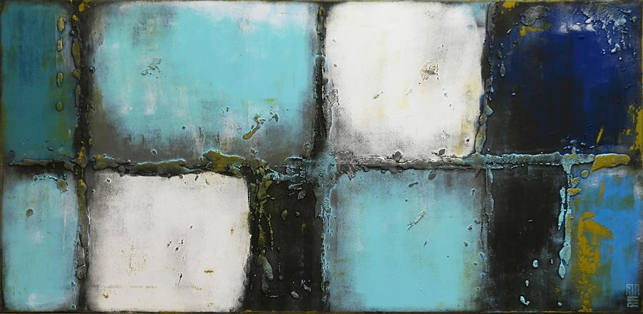 Original art for sale at UGallery.com | Lots of Turquoise by RONALD HUNTER | $1,500 | Acrylic painting | 27.5' h x 55.1' w | http://www.ugallery.com/acrylic-painting-lots-of-turquoise