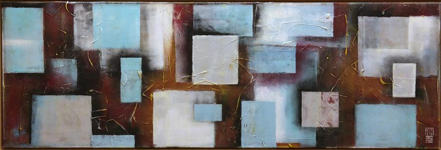 Original art for sale at UGallery.com | Cubistic City Squares by RONALD HUNTER | $1,625 | Acrylic painting | 23.6' h x 59.1' w | http://www.ugallery.com/acrylic-painting-cubistic-city-squares