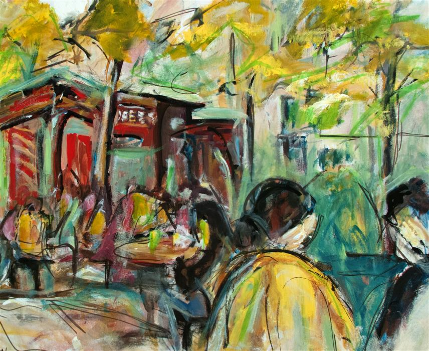 Original art for sale at UGallery.com | Bryant Park Rush by SHARON SIEBEN | $600 | Acrylic painting | 20' h x 24' w | http://www.ugallery.com/acrylic-painting-bryant-park-rush
