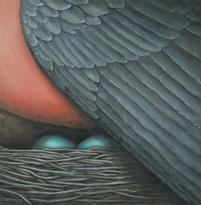 Original art for sale at UGallery.com | Under Her Wing by JENNIFER ROSS | $1,000 | Oil painting | 20' h x 20' w | http://www.ugallery.com/oil-painting-under-her-wing