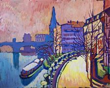 Architecture art,Impressionism art,Seascape art,Representational art,acrylic painting,City at Dawn