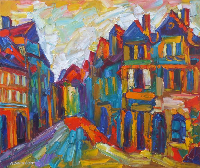 Discover Original Art by Elizabeth Elkin | In Prague, Down the Street oil painting | Art for Sale Online at UGallery