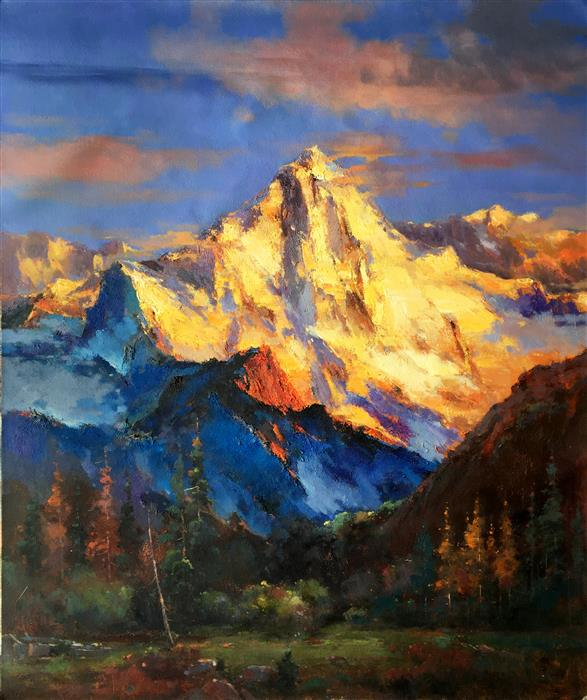 Original art for sale at UGallery.com | Splendid Golden Mountain 2 by JINGSHEN YOU | $1,625 | Oil painting | 48' h x 40' w | http://www.ugallery.com/oil-painting-splendid-golden-mountain