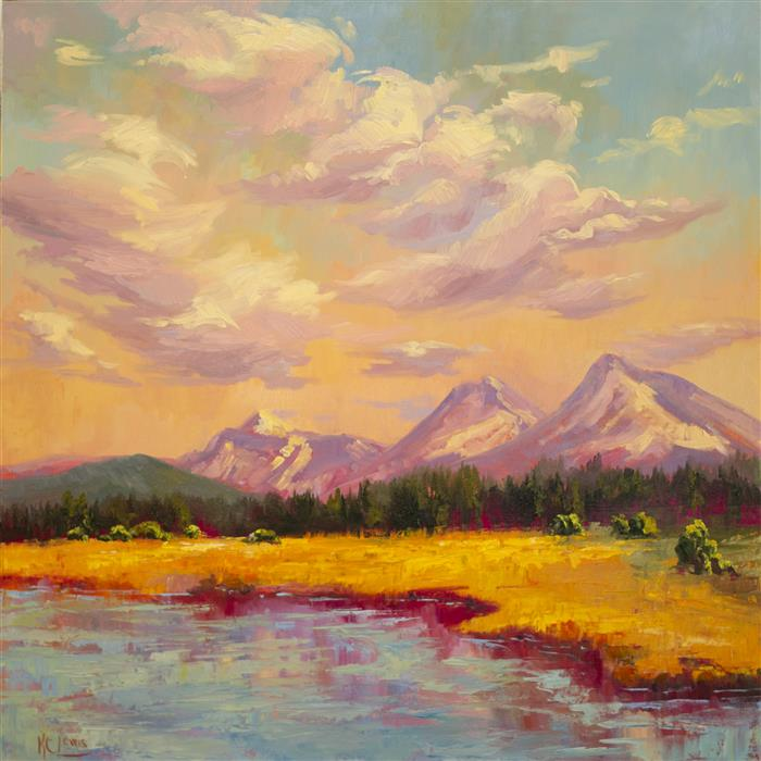 Discover Original Art by Karen E Lewis | Black Butte Lake and Sisters oil painting | Art for Sale Online at UGallery