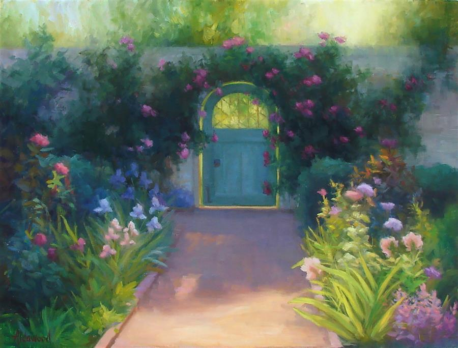 Original art for sale at UGallery.com | Walled Garden by SHERRI ALDAWOOD | $975 | Oil painting | 18' h x 24' w | http://www.ugallery.com/oil-painting-walled-garden