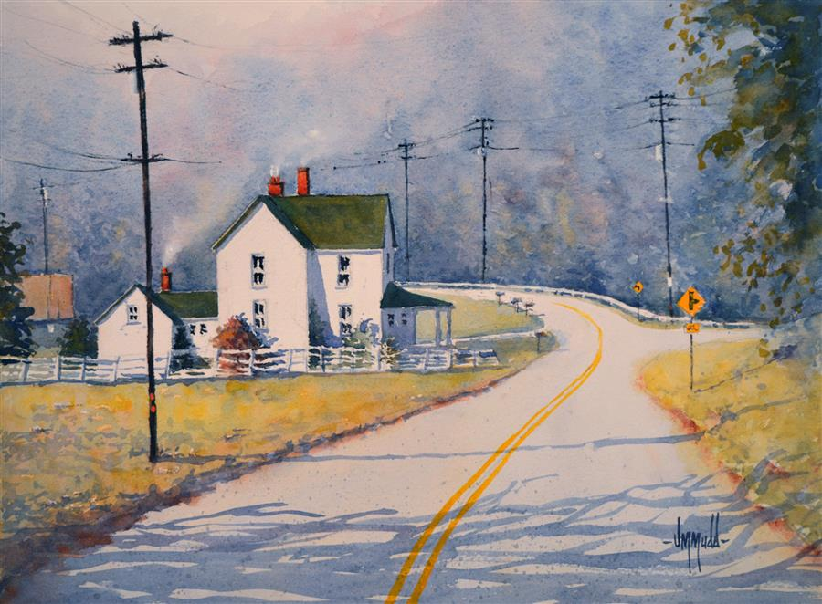 Original art for sale at UGallery.com | Sunday Drive by JUDY MUDD | $550 | Watercolor painting | 11' h x 15' w | http://www.ugallery.com/watercolor-painting-sunday-drive