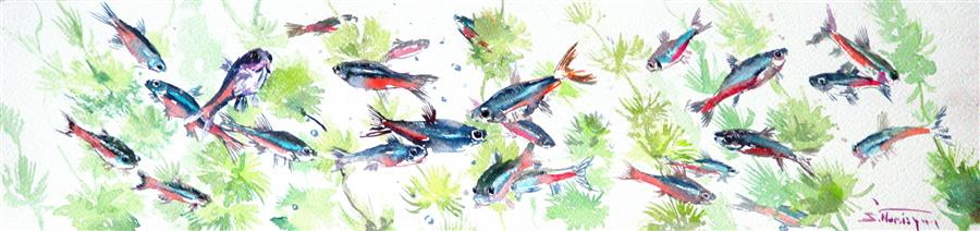 Original art for sale at UGallery.com | Neon Tetra (Aquarium Art) by SUREN NERSISYAN | $350 | Watercolor painting | 6' h x 22' w | http://www.ugallery.com/watercolor-painting-neon-tetra-aquarium-art