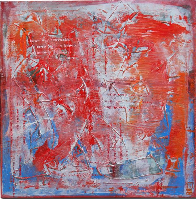 Original art for sale at UGallery.com | Typo Pop Red by RONALD HUNTER | $1,125 | Acrylic painting | 35.4' h x 35.4' w | http://www.ugallery.com/acrylic-painting-typo-pop-red
