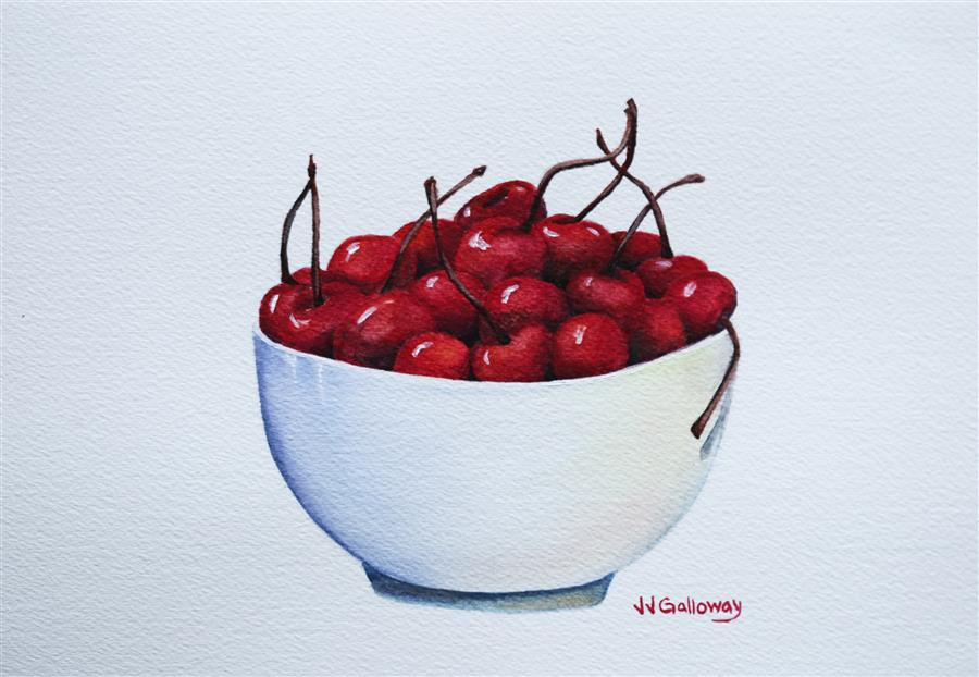 Original art for sale at UGallery.com | Bowl Full of Cherries by JJ GALLOWAY | $275 | Watercolor painting | 7' h x 10' w | http://www.ugallery.com/watercolor-painting-bowl-full-of-cherries