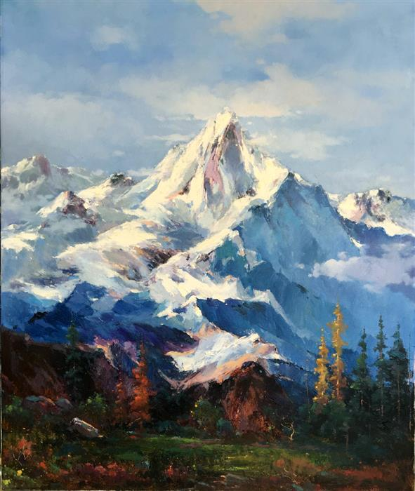 Discover Original Art by Jingshen You | Splendid Snow Mountain 1 oil painting | Art for Sale Online at UGallery