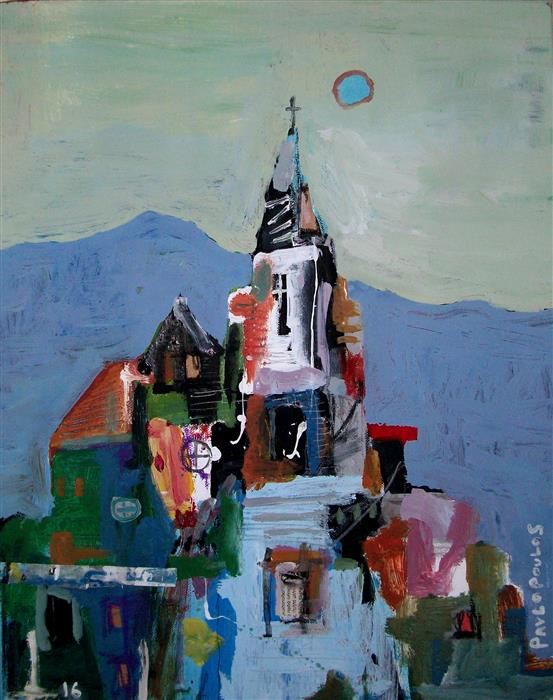 Original art for sale at UGallery.com | Old Church in Italy by DIMITRIS PAVLOPOULOS | $925 | Mixed media artwork | 19.6' h x 15.7' w | http://www.ugallery.com/mixed-media-artwork-old-church-in-italy