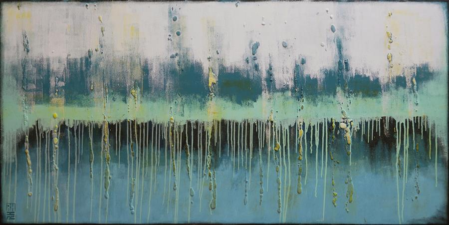 Discover Original Art by Ronald Hunter | Landscape Blue & Green acrylic painting | Art for Sale Online at UGallery