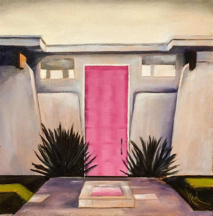 Discover Original Art by Mandy Main | Palm Springs Door - Hot Pink oil painting | Art for Sale Online at UGallery