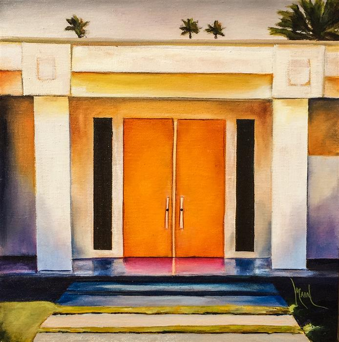 Discover Original Art by Mandy Main | Palm Springs Door - Tangerine oil painting | Art for Sale Online at UGallery