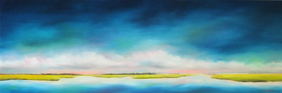 Discover Original Art by Nancy Hughes Miller | Horizon Marsh Clouds oil painting | Art for Sale Online at UGallery