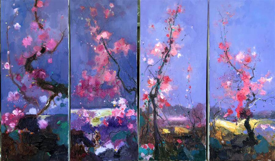 Original art for sale at UGallery.com | Plum Blossom by JINGSHEN YOU | $1,450 | Oil painting | 28' h x 48' w | http://www.ugallery.com/oil-painting-plum-blossom