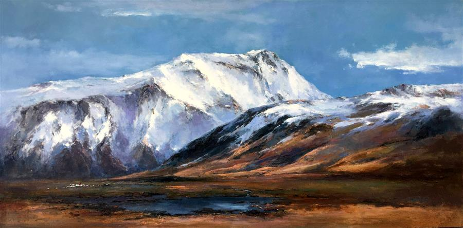 Discover Original Art by Jingshen You   Splendid Snow Mountain 2 oil painting   Art for Sale Online at UGallery