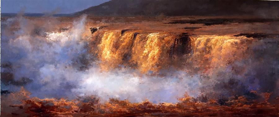 Discover Original Art by Jingshen You | Waterfall of Chinese Yellow River oil painting | Art for Sale Online at UGallery