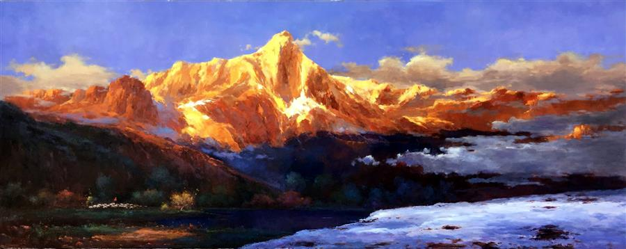 Original art for sale at UGallery.com | Splendid Golden Mountain 1 by JINGSHEN YOU | $1,450 | Oil painting | 32' h x 80' w | http://www.ugallery.com/oil-painting-the-splendid-golden-mountain