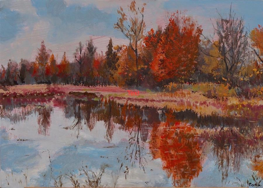 Discover Original Art by Sidonie Caron   Riverside acrylic painting   Art for Sale Online at UGallery