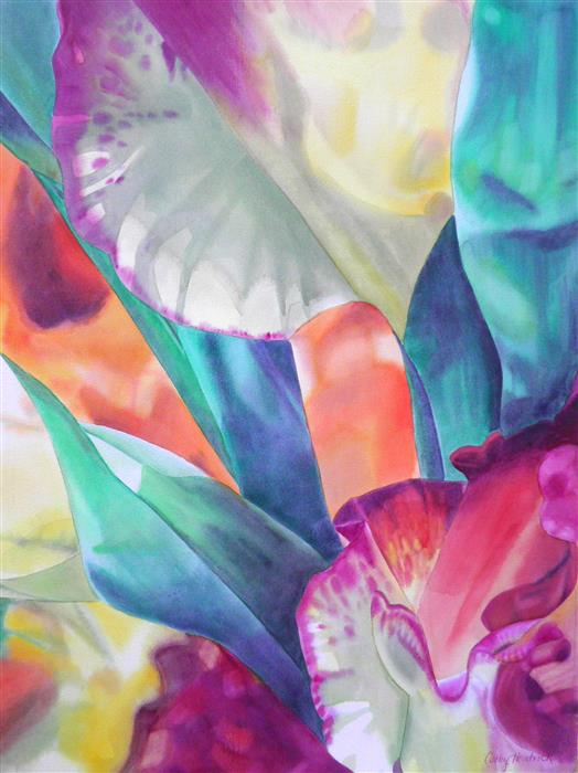 Discover Original Art by Cathe Hendrick | Orange Gladiolus watercolor painting | Art for Sale Online at UGallery
