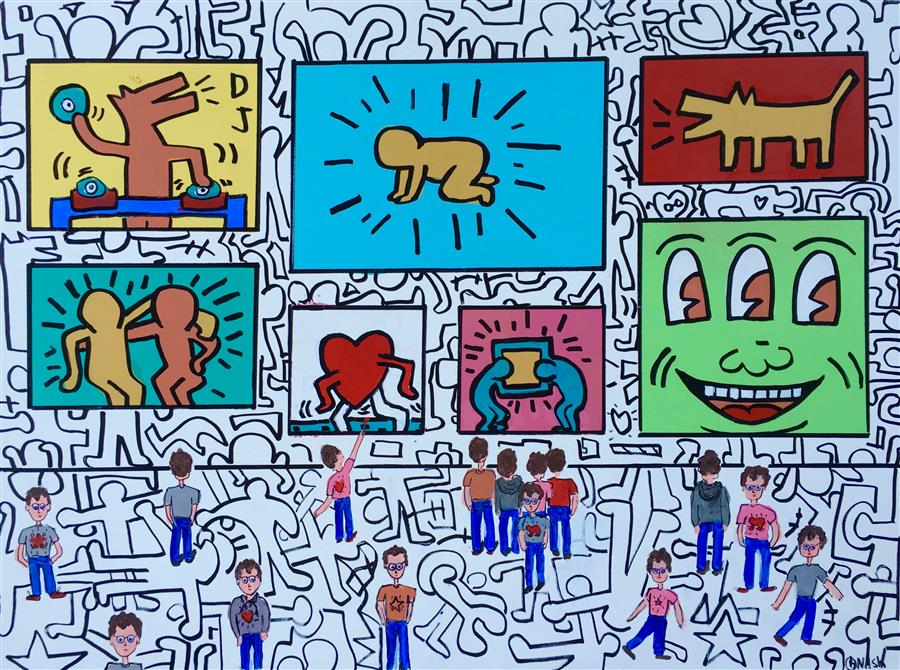 Discover Original Art by Brian Nash | The Pop Shop/Keith Haring acrylic painting | Art for Sale Online at UGallery