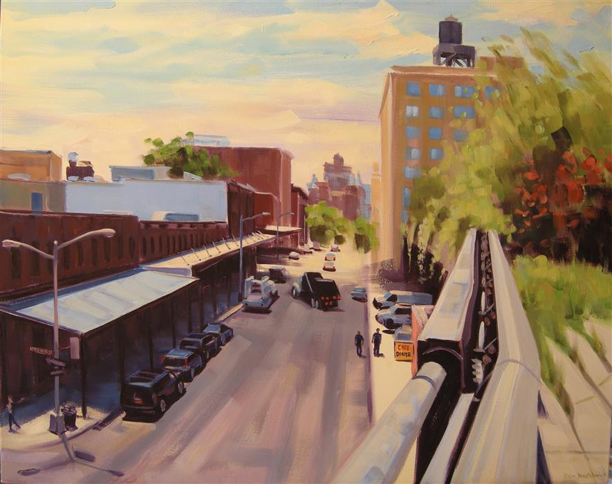 Discover Original Art by Ellen Bradshaw | Little West 12th and Washington St oil painting | Art for Sale Online at UGallery